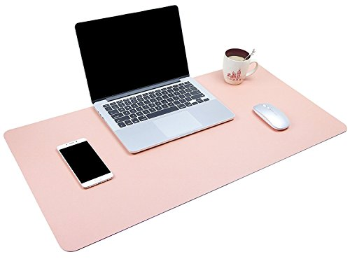 Dual-Sided Multifunctional Desk Pad, Waterproof Desk Blotter Protector, Leather Large Desk Wrting Mat Mouse Pad(31.5 x 15.7, Pink)