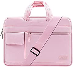 MOSISO Laptop Shoulder Bag Compatible with MacBook Pro/Air 13 inch, 13-13.3 inch Notebook Computer, Polyester Flapover Briefcase Sleeve Case, Pink