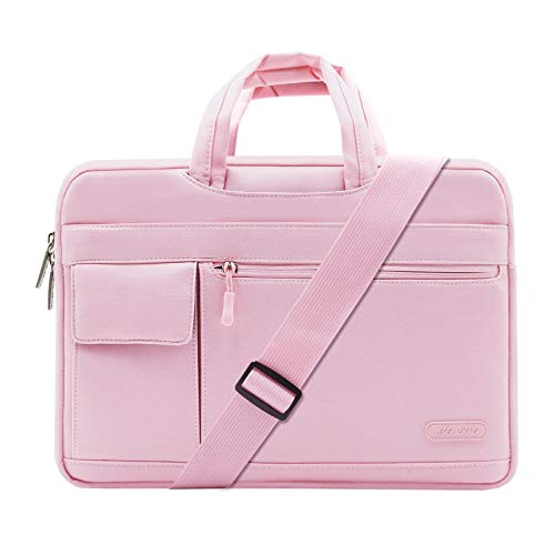 MOSISO Laptop Shoulder Bag Compatible with MacBook Pro 16 inch A2141 2020 2019/Pro Retina 15 A1398, 15-15.6 inch Notebook, Polyester Flapover Briefcase Sleeve Case, Pink