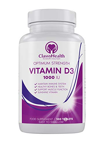 Vitamin D 1000 IU (Cholekalciferol) Vegetarian Micro Tablets Easy to Swallow / 100 Days Supply of Optimum Strength Vitamin D3 Supplement by ClassyHealth