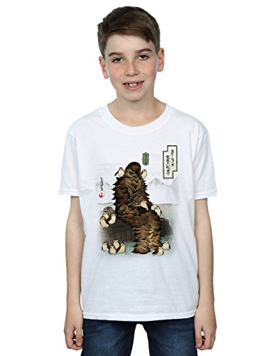 Star Wars Jungen The Last Jedi Japanese Chewbacca Porgs T-Shirt 7-8 Years Weiß