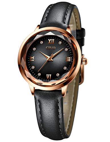 CIVO Damen Uhr Damenuhr Schwarz Einfach Wasserdicht Analoge Armbanduhr Lässige Geschäft Leder Uhren für Frauen Damen Mädchen Elegant