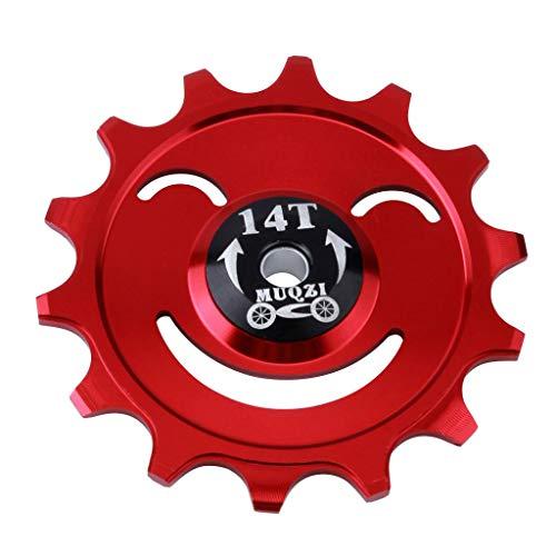 Perfeclan 12T O 14T MTB Bicicleta Bicicleta Cerámica Rodamiento Trasero Patín Jockey Guía Rueda Ciclismo Componentes Componentes - Rojo 14T