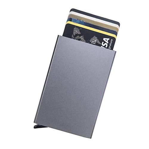 Tarjeteros para Tarjetas de Crédito Cartera de Aluminio Ultradelgado Bloqueo RFID Automático Pop Up, Capacidad 4-6 Hojas,Gris