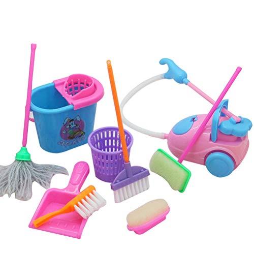Hinder Juguetes de limpieza para niños, escoba y fregona de basura barril para niños, juguete educativo para niñas, accesorios para muñecas, 9 piezas/set