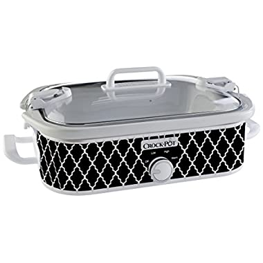 Crock-Pot 3.5-Quart Casserole Crock Manual Slow Cooker, Black and White