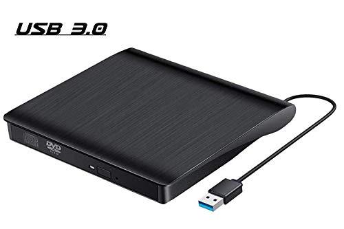 QueenDer Masterizzatore Lettore Dvd CD Esterno USB 2.0 Drive CD-RW Dispositivo Lettore Schede Portatile Ultra Slim Nero External Disc Read CD Computer/Laptop Dvd per Windows10/8/7