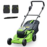 36V Foldable Cordless Lawn Mower, Push Brushless Dethatcher with 4Ah Battery and Charger, 6 Adjustable Heights, 40L Grass Box, for Garden Lawn Trimming