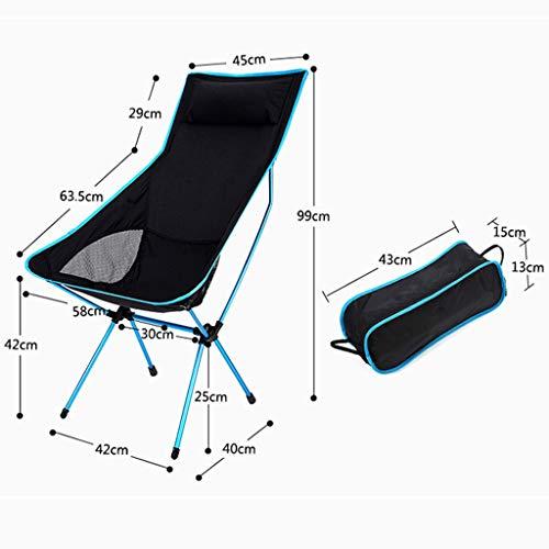 Outdoor Klappstuhl Mit Kissen Ultraleicht Recliner Aluminiumlegierung Freizeit Mond Stuhl Zurück Fischen Stuhl Strand Bank Tragbare selbstfahrende Camping Stuhl Regie Stuhl (Farbe : Blau)