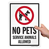 """SmartSign 14 x 10 inch """"No Pets - Service Animals Allowed"""" Metal Sign, 40 mil Laminated Rustproof Aluminum, Red, Black and White"""