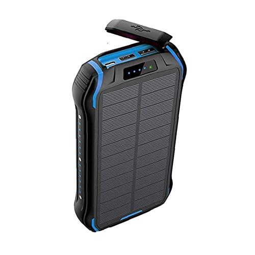 FeelMeet Banco inalámbrico portátil de energía Solar Cargador Externo de la batería de Carga rápida Multi usos Impermeable del teléfono Cargador 26800mAh Azul