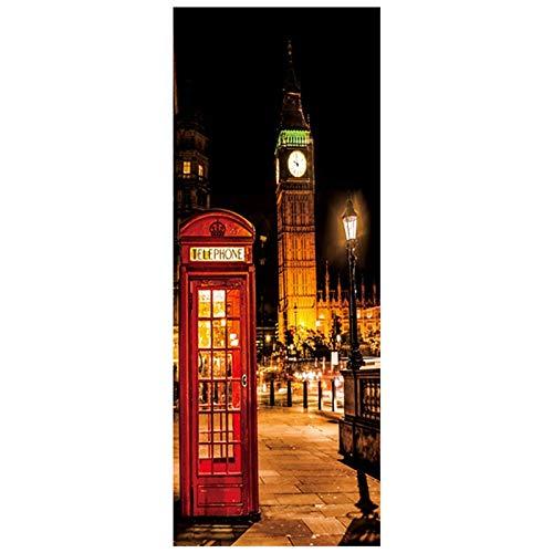 77 * 200 cm Londra Vista notturna 3D Porta murale Big Ben Cabina telefonica adesivi murali in vinile decorazione Della casa Carta da parati Stile Strada di città