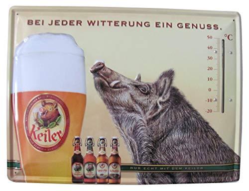 Keiler Bier GmbH - Bei jeder Witterung EIN Genuss - Blechschild mit Thermometer - 40 x 30 cm