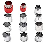 Vegetable Cutter Shape Sets, Mini Fruit Cutter Cookie Cutter Cake Pudding Cheese Presses, Flower Star Cartoon Animals Heart Stamp Molds, Decorative Food Cutter ToolsStainless Steel, 12 PCS (Red)