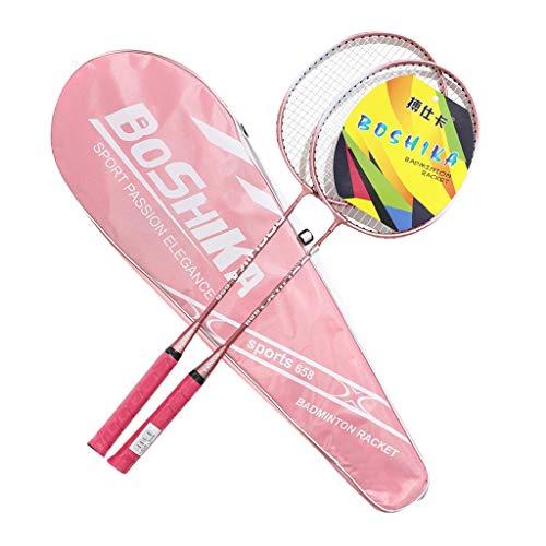 HSKB Badminton Set mit Badmintonschläger Rackets Schläger Leichtgewicht Federbälle Federballschläger mit Federbälle und Nylon Tragetasche Schlägertasche für Sport Training Kit (Pink)
