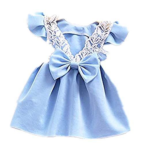WUSIKY Sommerkleid Kleinkind Baby Mädchen Bowknot Rückenfreies Kleid Prinzessin Outfits Kleidung Spitzenkleid Minirock Hoop Rock Unterrock Kleid Tüll Unterrock Kinder Geschenk(110,Blau)