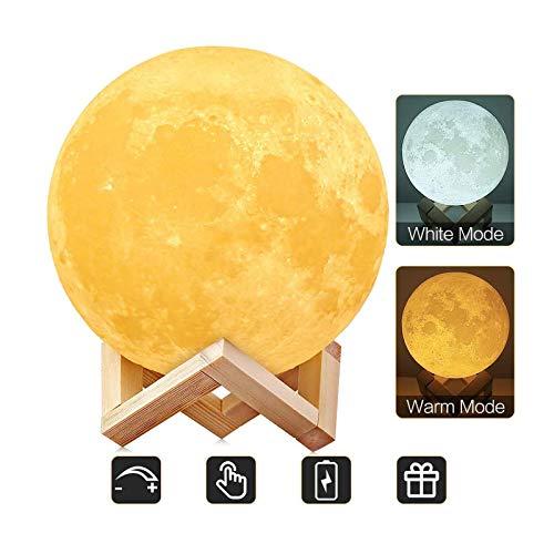 AGM Mond Lampe-Nachttischlampe, 3D Mond Kunst Mondlampe, Farbige Dekoleuchte mit Tragbar Dimmbar, Schlummerleuchte Stimmungslicht, USB Steckdose für Geschenk [ 5,91inch/15 cm]