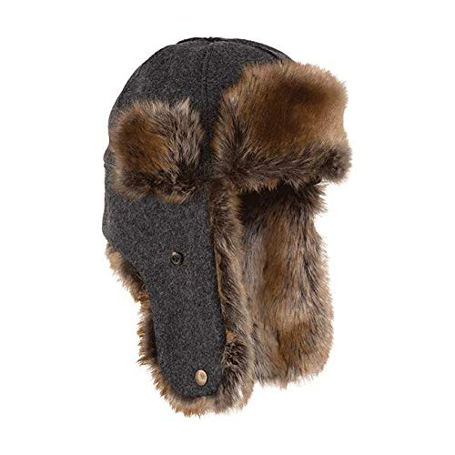Stormy Kromer Northwoods Trapper Hat - Insulated Wool Winter Hat with Ear Flaps Charcoal