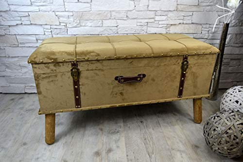 Livitat® Hocker Polsterhocker Suitcase Pouf Truhe Staufach Truhenbank Sitzbank Ottomane B90 x T40 x H47 cm LV2079 (Braun) - 2