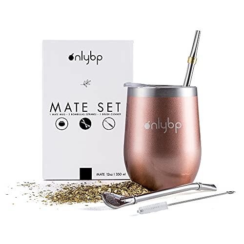 OnlyBP - Mate Argentino Kit Yerba, Incluye 2 Bombillas, Cepillo de Limpieza y Vaso de Acero Inoxidable Rosa