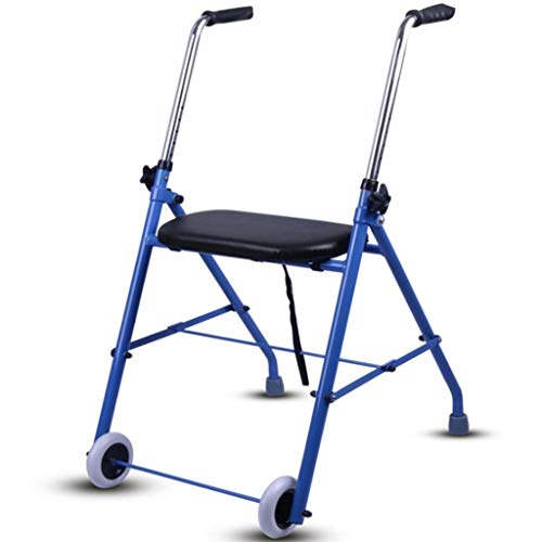 IWQTO Rolling Walker with Seat Folding Function, Rolling Walking Stand, 2-Wheel Walker, Aluminum Alloy 7-speed Height Adjust.