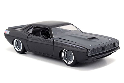 Jada Toys–97195MBK–Plymouth lettys Barracuda–Fast and Furious–1970–Maßstab 1/24–Schwarz Matt