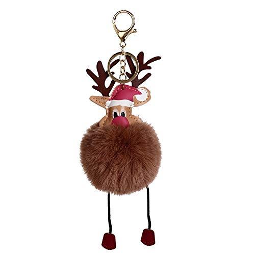 LemonDM Christmas Reindeer Keychains, for Women Gift Hair Ball Key Cute Trinket Pendant (brown,18cm)