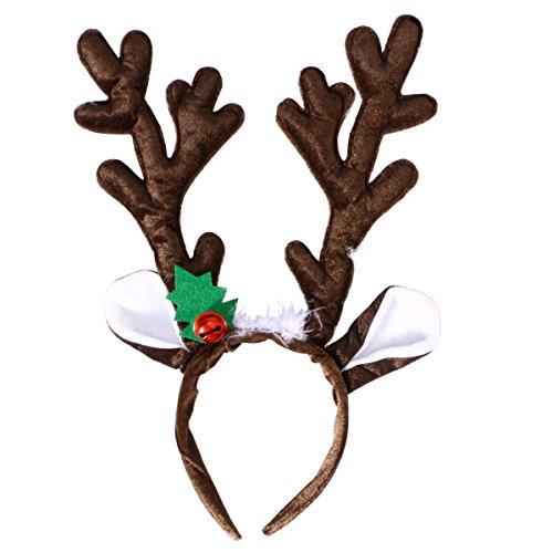 Toyvian Diadema de Asta de Alces Ciervo de Navidad con Campana para Disfraz de Navideño de Adultos y Niños (Marrón)