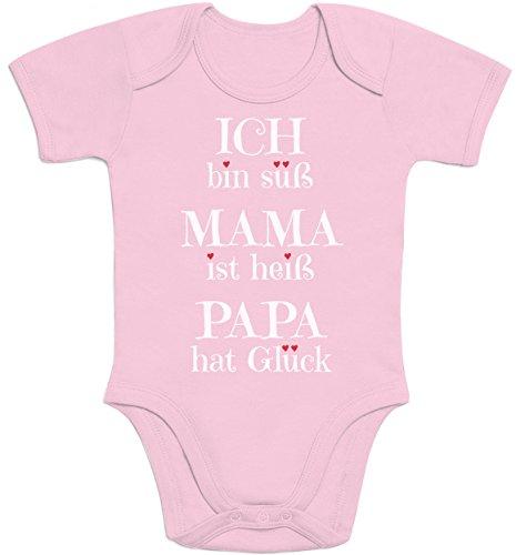 Süßer Spruch Ich Bin süss, Mama ist heiß, Papa hat Glück Baby Body Kurzarm-Body, Rosa, Neugeboren