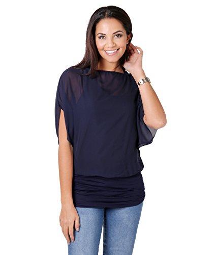 Blusas Camisas Mujer Elegante Grande Top Bonita Fiesta Transparente Juvenil Tallas Grandes Fiesta Moda, (Azul Marino (3559), 36 EU (08 UK)), 3559-NVY-08
