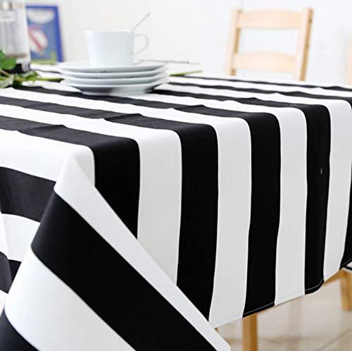 JRMU Negro Blanco Rayas Mantel Rectángulo, 51x71in, Moderno Lavable Mantel para Mesa Multi-tamaño Antimanchas Polvo-Prueba para Iglesias Y Los Budistas Partido Picnic-130x180cm(51x71in)