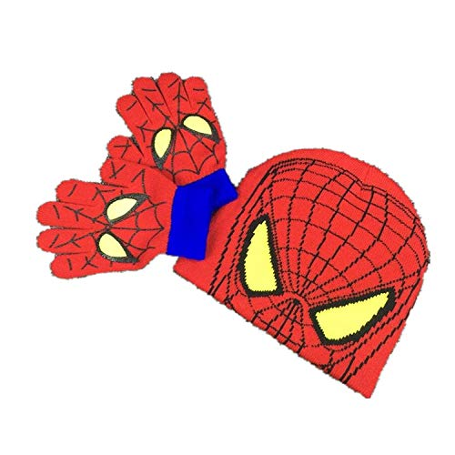 Coton Bonnet Slouch Hiver,Bonnet rétro Unisexe Casquette de Baseball , Gants Spiderman Automne et Hiver tricoté Laine Enfants Chapeau Gants Deux pièces Ensemble-Spiderman