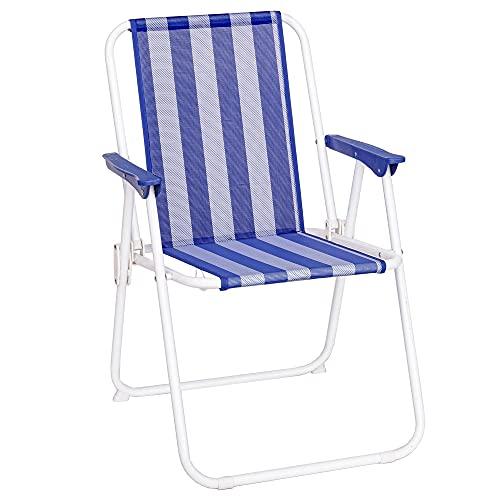 LOLAhome Silla de Playa Plegable Azul Marino y Blanca Hierro de 75x53x46 cm