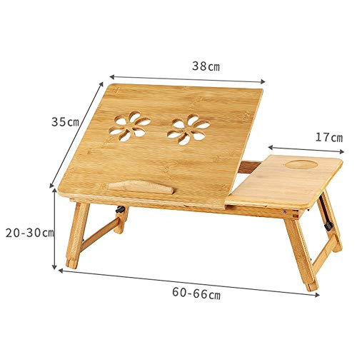 PULLEY-C Bamboo Portable Computer Table, Laptop Stand Foldable Portable Adjustable Portable Book Reading Tray Stand Notebook Table With Drawer C (Size : M)