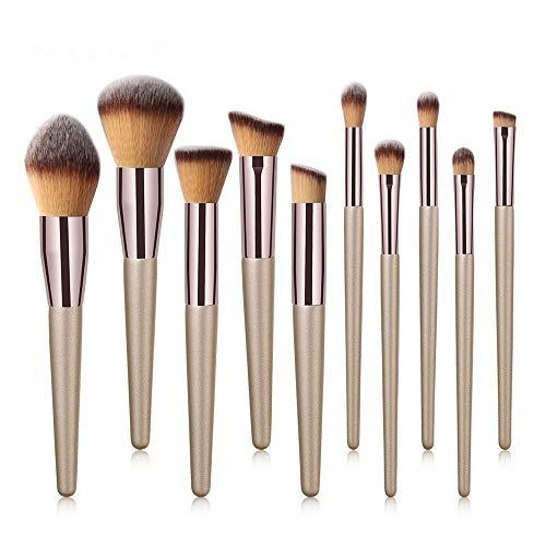 Sets de Brochas para Maquillaje Profesional 10pz Brochas de Maquillaje Correctores, Base en Polvo, Sombras de Ojos Brochas Cosméticas Brochas para Maquillaje Facial Brochas de Maquillaje Ojos(Dorado)
