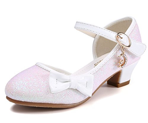 Iwfree Mädchen Glitzer Ballerinas Schuhe Festlich Tanzschuhe Studenten Kinder Prinzessin PU Lederschuhe Sandalen Königin Frühling Sommer Absatz-Schuhe Sandalette Pumps Stöckelschuhe mit Schleife