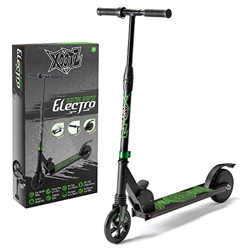 Xootz Patinete eléctrico para Adultos y niños, portátil, Ligero, Plegable, con Peso máximo de 100 kg, Electro, Negro, Talla única