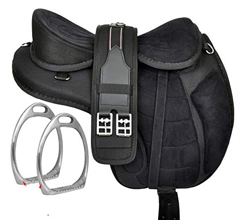 """HR, International Youth Child English Synthetic Treeless FREEMAX English Pony Miniature Horse Saddle Tack with Handle Get Matching Girth & Leather Straps Size 12"""" Inches Seat"""