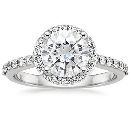 Anillo de plata de ley 925 con diamante de moissanita de corte redondo blanco de 1,1 quilates para compromiso
