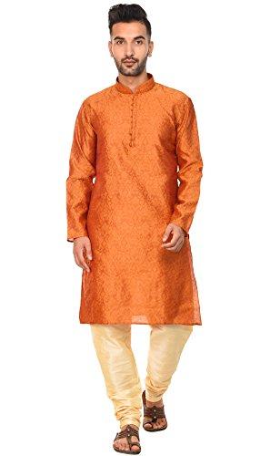 SKAVIJ Herren Tunika Indische Kurta Pajama Traditionelle Kleid Set (Braun, M)