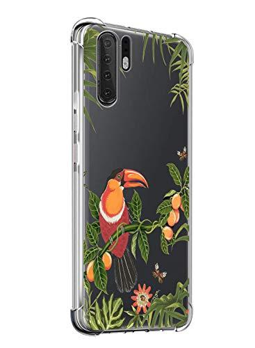 Suhctup Coque Compatible avec Huawei Y6 2018,Étui Houssee de Transparent Motif Mignon [Antichoc Coussin d'air] Crystal Clear Souple Silicone TPU Bumper Protection de Cover Case,Oiseau 2