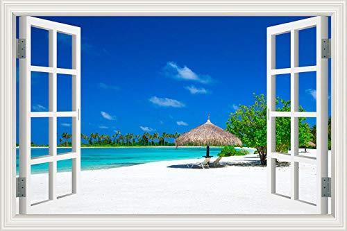 Adesivo De Parede Cadeira De Praia Paisagem 3D Efeito De Adesivo De Parede Falso Adesivo De Janela Para Casa Sala De Estar Decoração De Quarto Mural 60 * 90Cm(24 * 36Inch)