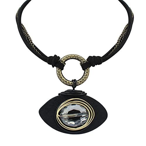 Clásico Retro Collar Doble Moda Estilo Étnico Collar De Metal Exótico Ojo En Forma De Accesorios, negro