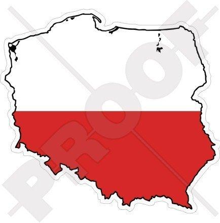 POLEN Polnische Karte-Flagge POLEN 100mm Auto & Motorrad Aufkleber, Vinyl Stickers