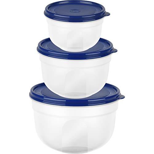 Emsa Frischhaltedose, rund/hoch, blau, 0,6L/1,25L SUPERLINE FH-Set ru/ho 0,6/1,25/2,25L bl, Plastik, 0,6/1, 2,25 L, 3-Einheiten