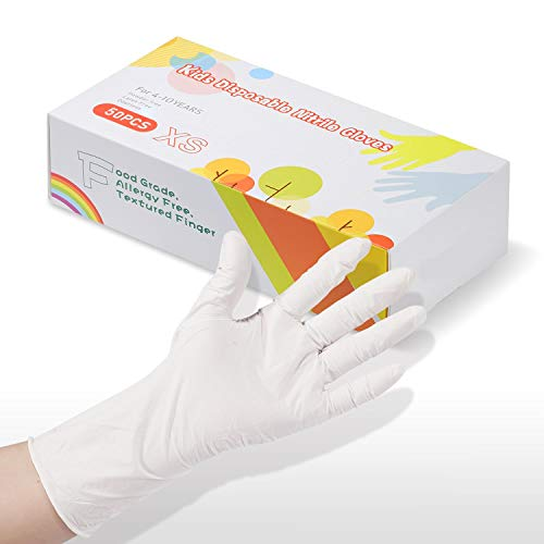 Nitrile Gloves 12 inch Long Kids Gloves Disposable, Nitrile Gloves for 4-10 Years - Latex Free, Food Grade, Powder Free - for Kids Crafting, Painting, Gardening, Cooking- White 50 PCS