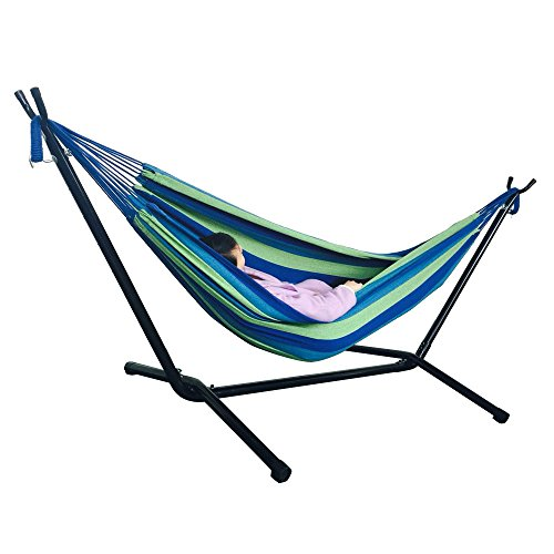Portable Hammock Set Chair with Steel Stand,Camping Double or Single Lightweight Polyester & Cotton Fabric Hammock Beach Swing Double Beds for Hiking,Travel,Yard Gear (Blue & Green)