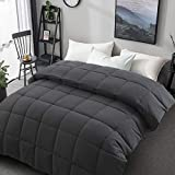 Soft Smooth Queen Size Comforter All Season Weather 2000 Series Cooling Lightweight Quilted Down Alternative Breathable Hotel Comforters Duvet with Corner Tabs 3D Filling (Dark Grey, Queen (88'x88'))