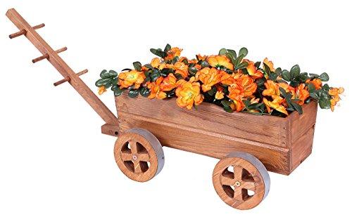 Carro Madera Marrón Carrito de flores para flores y plantas Tranvía Macetero Cochecitos de decoración