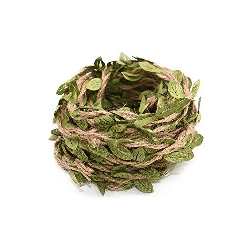 JIAHUI Guirnalda de yute con hojas verdes de ratán y hojas de yute, utilizada para bodas, reuniones familiares, decoración de pared, plantas falsas (color: B12, tamaño: 5 metros)